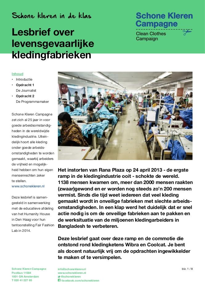 Lesbrief levensgevaarlijke kledingfabrieken