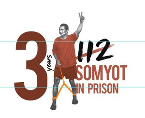 Steun voor Somyot op Internationale Dag van de Arbeid